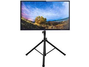 TV Stand Tripod Base Floor Portable TV Stand Height Adjustable Pole for Most 3270 Inch FlatCurved Screen TVs up to 100 Lbs Swivel and Tilt Mount for Outdoor IndoorMax VESA 600x400mm