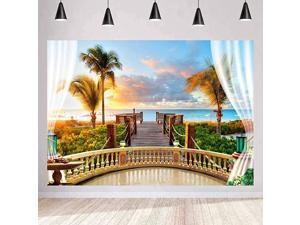 Seaside Scenery Backdrop Wooden Bridge Railing Plant Sunset Sea Background Wedding Photography Ocean Theme Party Studio Props Background 10x7ft HUIMT072
