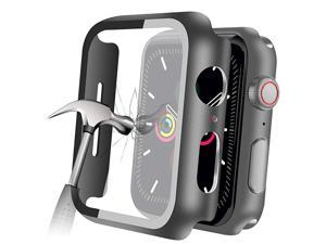 Compatible with Apple Watch Series 5 Series 4 44mm Case with Builtin Tempered Glass Screen Protector Thin Guard Bumper Full Coverage Matte Hard Cover for iWatch Accessories