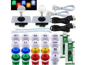 Arcade 2 Player Game Controller Stick DIY Kit LED Buttons with Logo MX Microswitch 8 Way Joystick USB Encoder Cable for PC MAME Raspberry Pi Color Mix
