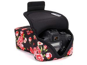 DSLR Camera Case and Zoom Lens Camera Sleeve Floral with Neoprene Protection Holster Belt Loop and Accessory Storage Compatible with Canon Nikon Sony Olympus Pentax and More