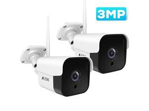 Outdoor Security Camera - 3MP Bullet Door Camera IP66 Colorful Night Vision Home Surveillance System, Work with Alexa, Two-Way Audio, Motion Detector, Alarm/Recording, (Set of 2)