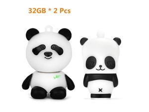 32GB USB Flash Drive Pack of 2 Pcs Thumb Drive with Cute Panda Pattern Gift for Students and Children