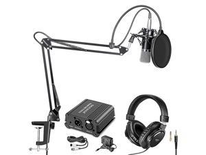 NW700 Pro Condenser Microphone and Monitor Headphones Kit with 48V Phantom Power Supply NW35 Boom Scissor Arm Stand Shock Mount and Pop Filter for Home Studio Sound RecordingBlack