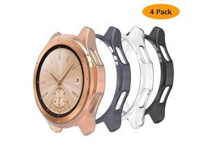 4 Packs Case Compatible with Samsung Galaxy Watch 42mm ScratchResistant Soft TPU Lightweight Protective Bumper Shell Cover ClearBlackRose GoldSpace Gray
