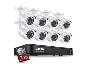 1080P H.265+ Home Security Camera System,5MP Lite 8 Channel CCTV DVR Recorder with Hard Drive 1TB and 8 x 1080p Weatherproof Bullet Camera Outdoor Indoor with 80ft Night Vision, Motion Alerts