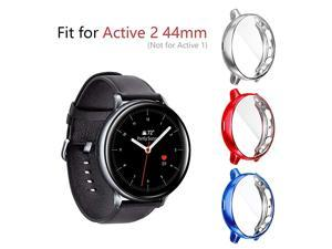 3 Pack Compatible for Samsung Galaxy Watch Active 2 Cases 44mm 2019 HeavyDuty Overall Full Body Protective TPU AntiScratch Case Cover for Active2 44mmSilverRedBlue