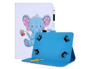 Case for 8084 Inch Display Tablet Fold Stand Leather Wallet Cute Cover for Galaxy TabOnnLenovoDragon TouchVankyo MatrixPadLG G PadAndroid Tablet 8 83 84 Inch Blue Elephant