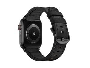 Upgraded Compatible wApple Watch Band 44mm 42mm Series 5 4 3 Rugged Hybrid Sports Leather Vintage Dressy Dark Replacement Strap Sweatproof iwatch Nike Space Black Grey Men Suede Black