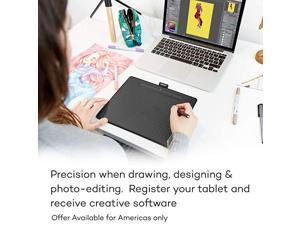 CTL6100WLK0 Intuos Wireless Graphics Drawing Tablet with Software Included 104 X 78 Black