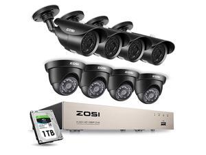 1080P Security Camera System H.265+ 1080P 8CH HD-TVI Video DVR Recorder with 8PCS 2.0MP Bullet and Dome Weatherproof CCTV Cameras, Motion Alert, Smartphone, PC Remote Access, 1TB Hard Drive