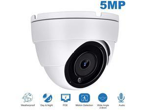 5MP IP POE Dome Camera with Audio, PoE IP Security Camera, Indoor Outdoor IP66 Weatherproof White Dome Camera, Wide Angle 2.8 mm Lens Camera with 98ft Night Vision, 3.5in Base