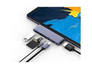 """USB C Hub for iPad Pro 2021 2020 2018 iPad Air 4,  6-IN-1 USB C Adapter, USB3.0, SD/TF Card Reader, 3.5mm Headphone Jack, PD, 4K HDMI, iPad Pro 2016-2021 iPad Air 2018-2020 11""""/12.9"""" accessories"""