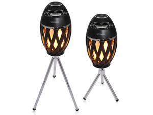 Flame Speakers with Retractable Bracket Kits Flickers Romantic Atmosphere for IndoorOutdoor Portable Stereo Speaker BT42 with HD Audio and Enhanced Bass2 Pack