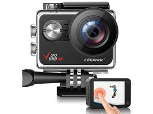 V30 Native 4K Action Camera 20MP EIS Touch Screen WiFi Waterproof PC Webcam with Optional View Angle 2 1350mAh Batteries and Mounting Accessories Kit Compatible with GoPro