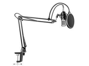 NW800 Silver Professional Studio Broadcasting Recording Condenser Microphone NW35 Adjustable Recording Microphone Suspension Scissor Arm Stand with Shock Mount and Mounting Clamp Kit