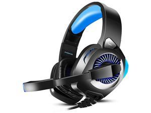 H9 Gaming Headset for PS4 PC Xbox One Nintendo Switch Laptop Xbox One Headset with 71 Surround Sound Over Ear Gaming Headphones with Noise Canceling Mic LED Light Blue