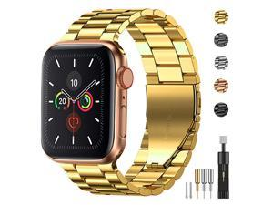 Stainless Steel Metal Band for Apple Watch 38404244mm Strap Replacement Link Bracelet Band Compatible with Apple Watch Series 6 Apple Watch Series 5 Apple Watch Series 1234Gold4244mm