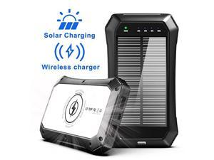 Solar Charger,  Wireless Power Bank 10000mAh with 20 LED Lights and Qi Solar Wireless Charger for Camping Outdoor for iOS Android-Black