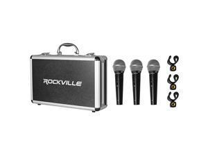 RMC3PK 3 Pack Metal Wired VocalInstrumentDJ Microphones+Metal Case