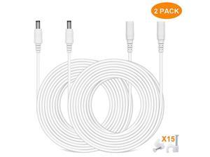 Power Extension Cable 33ft 2Pack 21mmx55mm Plug Power Supply Adapter Extension Cord 20AWG Power Cord Compatible with 12V24V Wireless CCTV IP Security CameraLed Strip LightsWhite