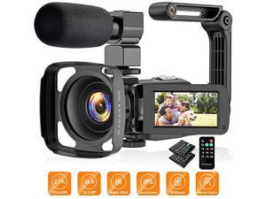 Camera Camcorder 27K Vlogging Camera for YouTube Ultra HD 24FPS 36 MP IR Night Vision 16X Digital Zoom 30 Touch Screen Camera with Microphone Handheld Stabilizer Lens Hood