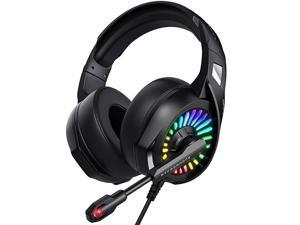Gaming Headset with Microphone PS4 Headset Xbox One Headset with RGB Light Wired PC Headset with 71 Stereo Surround Sound OverEar Headphones for PC PS4 Xbox One Laptop