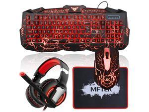 Backlit Wired Gaming Keyboard and Mouse Combo with LED Gaming Headset Set 50mm Speaker Driver Headphone + Mouse Pad for PC Gamer Computer Office