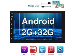 Double Din Android Car Stereo with GPS 7 Inch Capacitance Touch Screen FM Radio Reciever Supports Mirror Link for iOSAndroid Phones WiFi Connect + Backup Camera