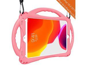Kids case for iPad 7th Gen 102 2019 iPad Air 3rd Gen 105 2019 iPad Pro 1052017 Premium FoodGrade Silicone Lightweight Shock Proof Handle Stand Kids Friendly Cover Pink