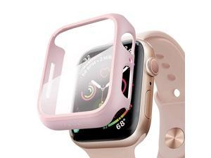 Compatible for Apple Watch Series 6/5 /4 /SE 40mm Case with Screen Protector Accessories Slim Guard Thin Bumper Full Coverage Matte Hard Cover Defense Edge for iWatch Women Men GPS (Pink)