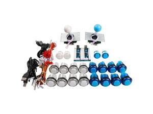 LED Arcade Controller DIY Kit 2x LED USB Encoder + 2x 48 Way Joystick + 20x LED Arcade Buttons White + Blue Kit