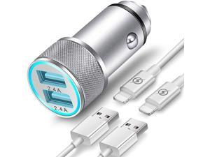 Car Charger Compatible with iPhone 1112 XRXSXPro Max 8766S Plus 5S5CSE2 iPad Air Mini Pro 24A Dual Port USB Car Charger with 2X 3ft Charging Cable 3in1 Pack
