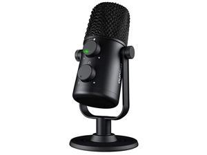 USB Microphone  AU902 Cardioid Condenser Podcast Mic with Dual Volume Control Mute Button Monitor Headphone Jack Plug and Play for Vocal YouTube Livestream Recording Gaming