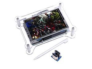 TFT Touch Screen+case 35 Inch Raspberry pi Screen TFT LCD Display Monitor with Protective Case Support All Raspberry Pi System Video Movie Play Arcade Game HDMI Audio Input
