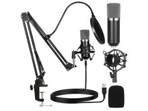 USB Streaming Podcast PC Microphone Professional Studio Cardioid Condenser Mic Kit with Sound Card Boom Arm Shock Mount Pop Filter for Skype Youtuber Gaming Recording