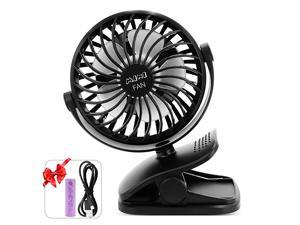 Clip on Fan USB Or 2600mAh Rechargeable Battery Operated Fan Small Desk Fan with 4 Speeds 360 Degree Rotation Portable Stroller Fan for Baby S Black
