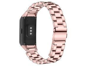 with Samsung Galaxy Fit SMR370 Bands Galaxy Fit Watch Band Solid Stainless Steel Metal Replacement Bracelet Strap for Galaxy Fit SMR370 Smart Watch Adjustable Rosepink