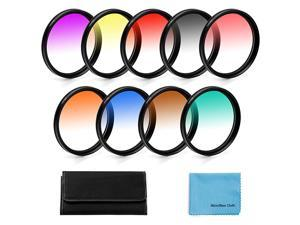 Graduated Color Filters Kit 9 Pieces Gradual Colour Lens Filter Kit Set Accessory for Canon Nikon Sony Pentax Olympus Fuji DSLR Camera + Lens Filter Pouch +Lens Cleaning Cloth