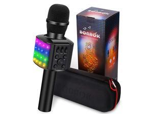 Wireless Bluetooth Karaoke Microphone with controllable LED Lights 4 in 1 Portable Karaoke Machine Speaker for AndroidiPhonePC Black