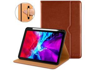 Case for New iPad Pro 129 Inch 4th Generation 20202018 Premium PU Leather Folio Stand Cover Apple Pencil Pair and Charge Supported Auto WakeSleep and Multiple Viewing Angles Brown