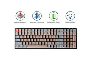 K4 Mechanical Keyboard Wireless Mechanical Keyboard with White LED BacklightGateron Red SwitchWired USB C 96 Layout Bluetooth Gaming Keyboard for Mac Windows PC Gamer