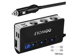 Cigarette Lighter Adapter Quick Charge 3.0 180W 12V/24V 3-Socket Splitter 4 USB Ports Car Power Adapter for GPS, Dash Cam, Sat Nav, Phone, Tablet, etc