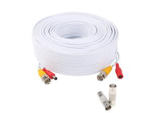 150 Feet Pre-Made All-in-One Siamese BNC Video and Power Cable Wire Cord with Two Female Connectors for CCTV Surveillance Security Camera & DVR (White)