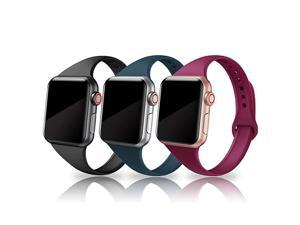 Sport Band Compatible with iWatch 38mm 40mm 42mm 44mm 3 Packs Narrow Soft Silicone Slim Thin Small Replacement Wristband Compatible for iWatch Series 6 5 4 3 2 1 SE Sport Edition Women Men