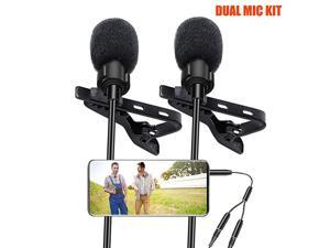Lavalier Lapel Microphone  2 Pack Omnidirectional Mic for Smartphone Desktop PC Computer DSLR Recording Mic for Podcast YouTube Vlogging and Interview