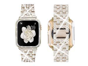 Compatible with Apple Watch Band 38mm 40mm 42mm 44mm + Case Women Jewelry Bling Diamond Replacement Metal Strap amp Clear PC Bumper Protective Case for iWatch Series 54321Champagne