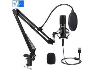 USB Condenser Microphone  192KHZ24Bit Plug amp Play PC Streaming Mic USB Microphone Kit with Professional Sound Chipset Boom Arm Set Studio Cardioid Mic for Recording YouTube Gaming Podcasting