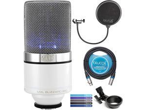MXL 990 Blizzard Condenser Microphone with Blue LED Lights Bundle with  10FT Balanced XLR Cable Pop Filter Windscreen and 5Pack of Reusable Cable Ties