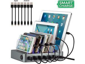 Charging Station Original US Design Patent Stylish Multiple Device Charger with 7 Mini Cables for Apple and Android Space Gray